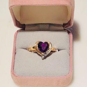 Jewelry - Genuine amethyst & diamond ring